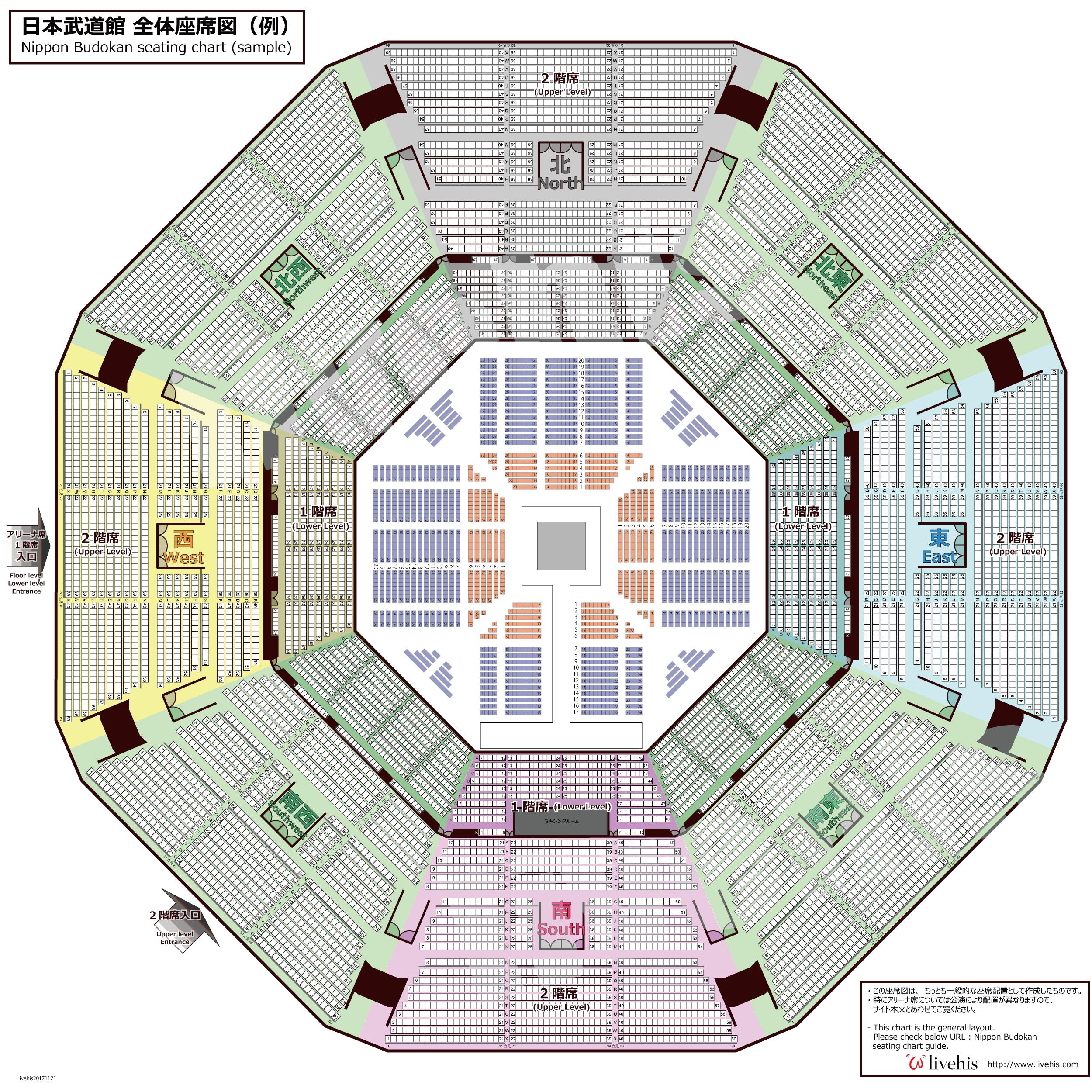 日本武道館、プロレス格闘技座席図