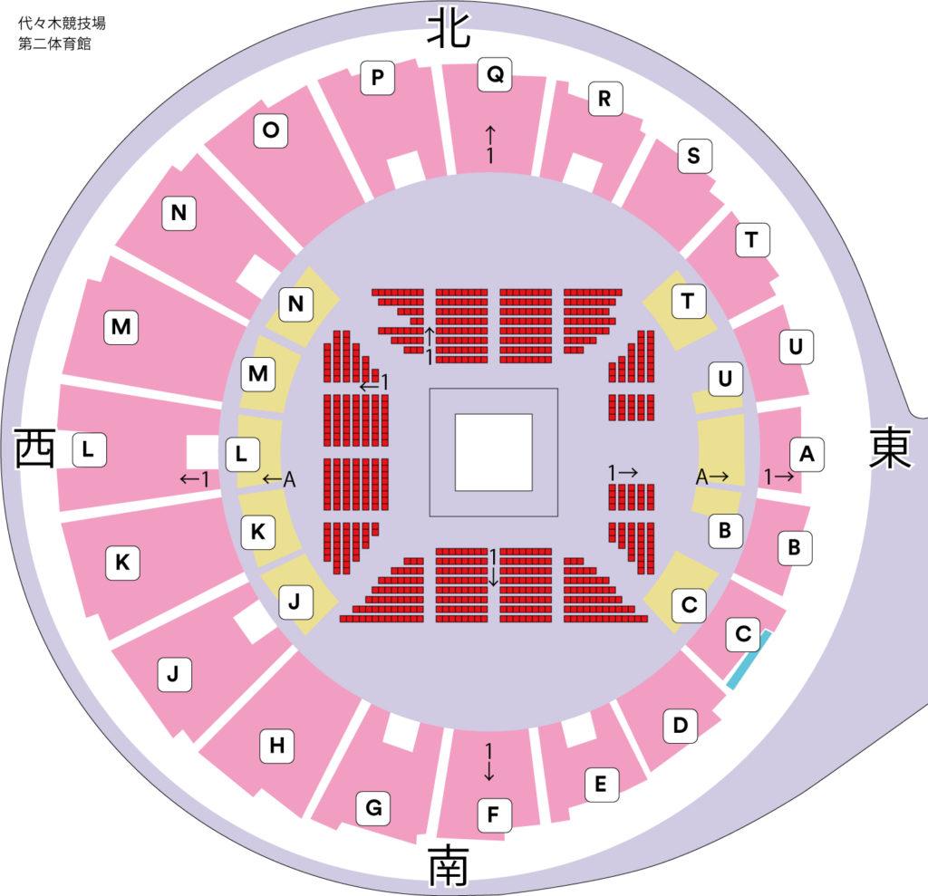 代々木競技場第二体育館座席表
